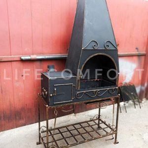 Мангал кованый 3*10 с печкой и дымоходом стационарный