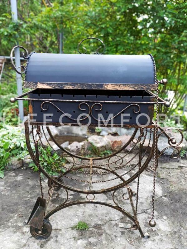 Мангал кованый 3*10 вензеля, декор, крышка