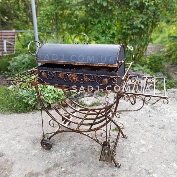 Мангал кованый 4*12 декор, крышка, колеса, усиленная станина на 12 шампуров