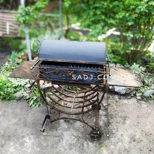 Мангал кованый 3*12 декор, крышка, усиленная станина на колесах на 12 шампуров