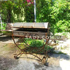 Мангал кованый 3*16 крышка, колеса, станина косичка, решетка гриль, два столика