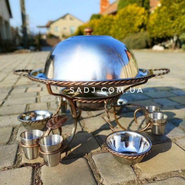 Садж 36см с металлическими соусницами рюмками