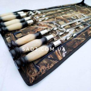 Набор шампура 3-12 мм с гравировкой в чехле и деревянной ручкой