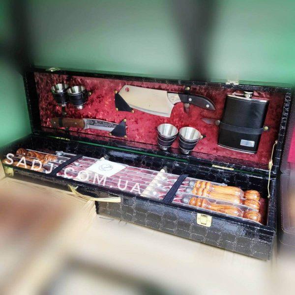 Подарочный набор шампуров в кейсе Макадамия