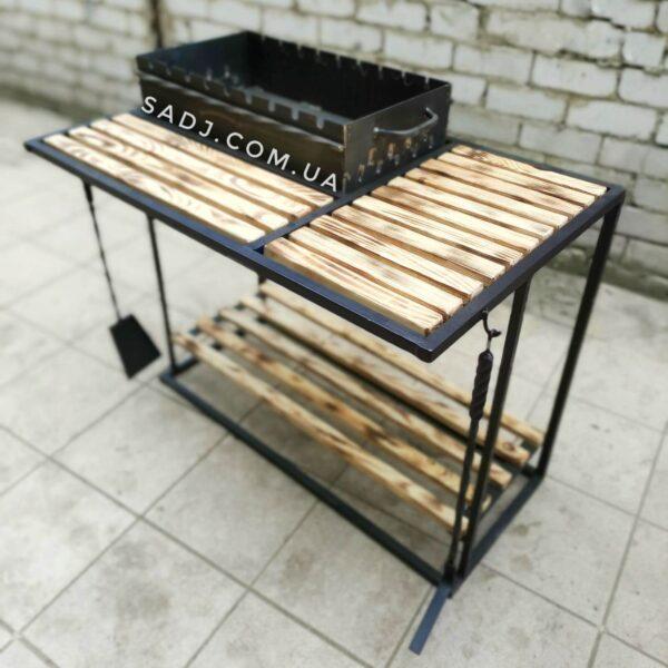 Мангал стационарный 3*9 Black с деревянными столиками